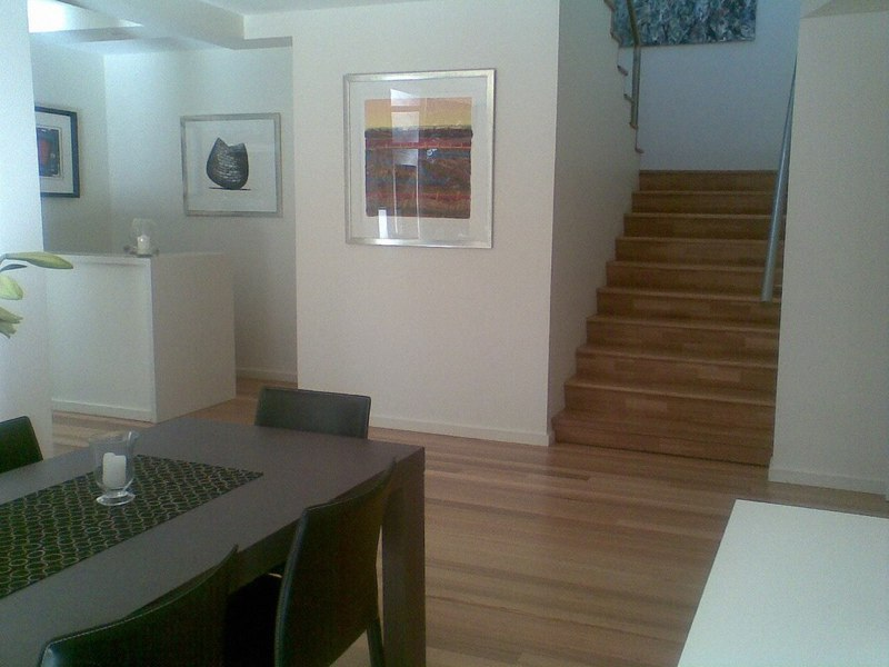 Solid hardwood treads and tongue and groove flooring to ground floor renovation by Timber Floors Pty Ltd