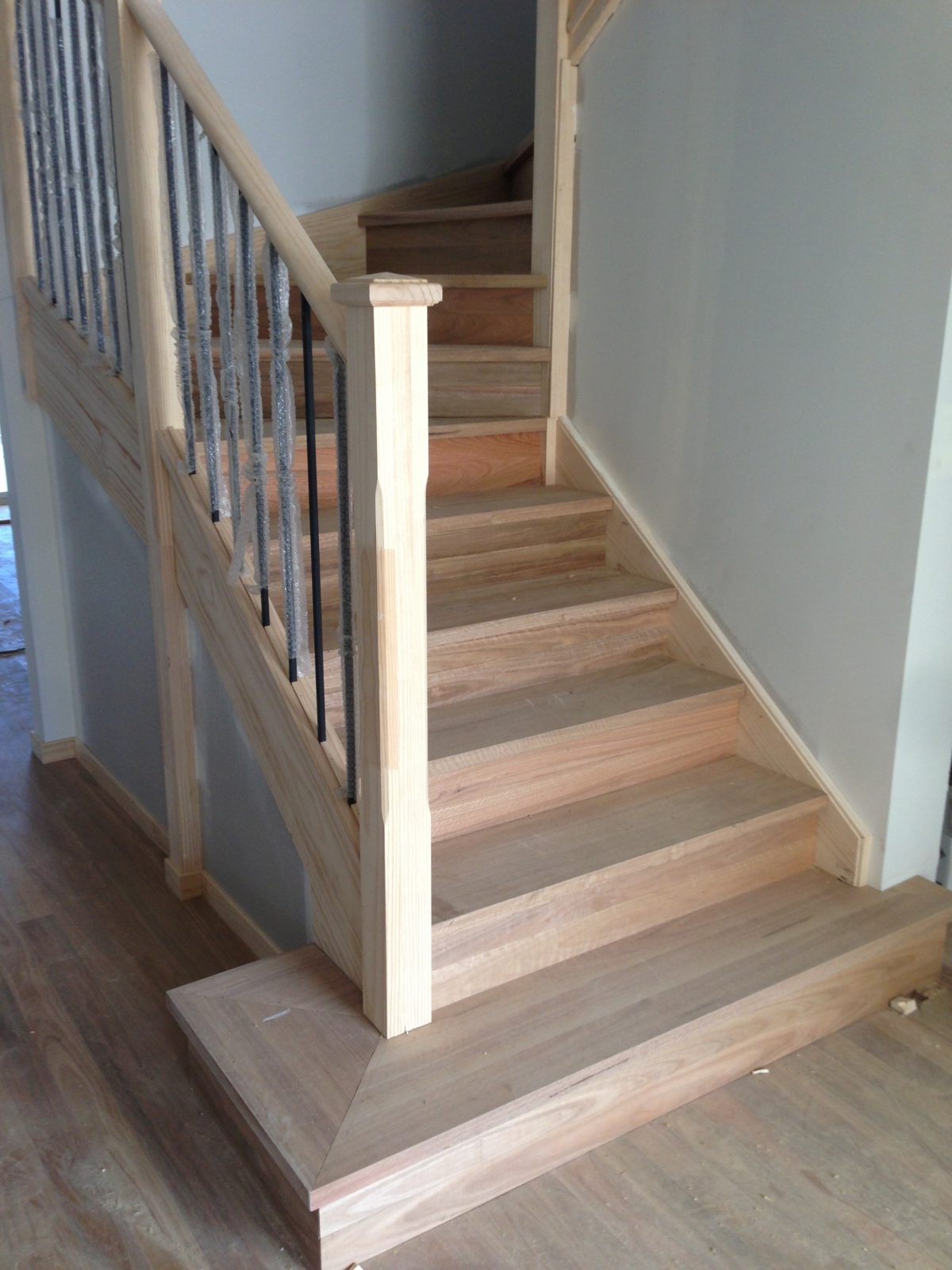 renovation of staircase in spotted gum solid treads and risers