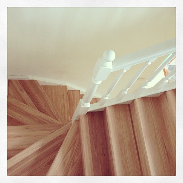 Grey gum flooring and staircase by Timber Floors Pty Ltd