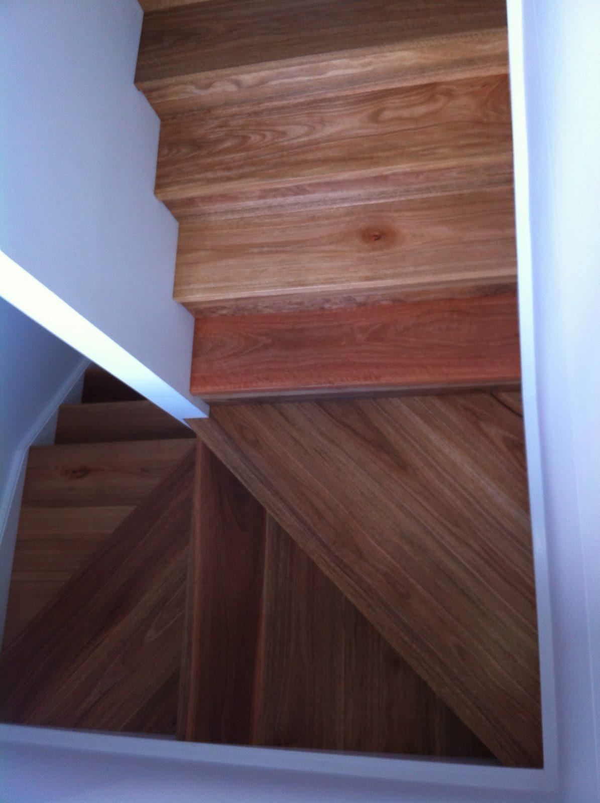 kellyville Ridge job – Staircase landing in Spotted Gum