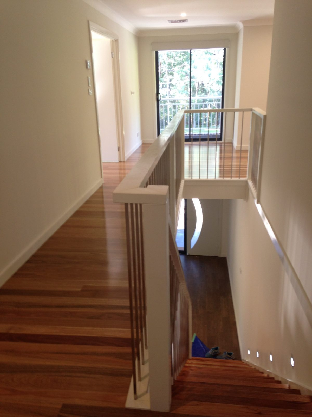 Solid hardwood treads and tongue and groove flooring to first floor renovation by Timber Floors Pty Ltd