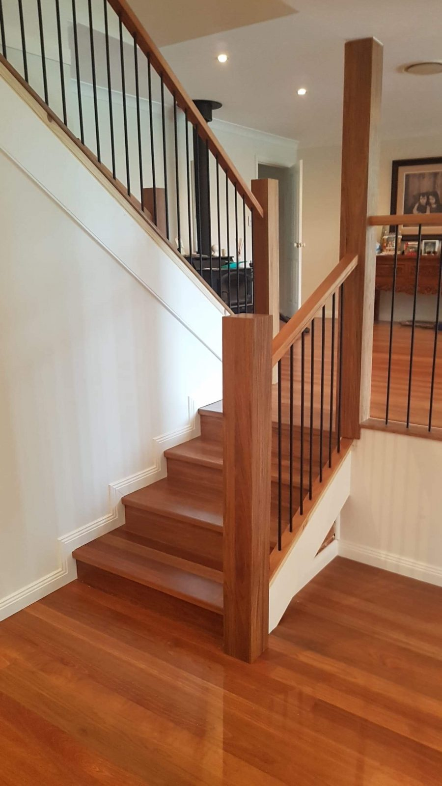 Designer Timber Staircases Solid stair treads and risers and bespoke Balusters - Staircase Makeover  by Timber Floors Pty Ltd