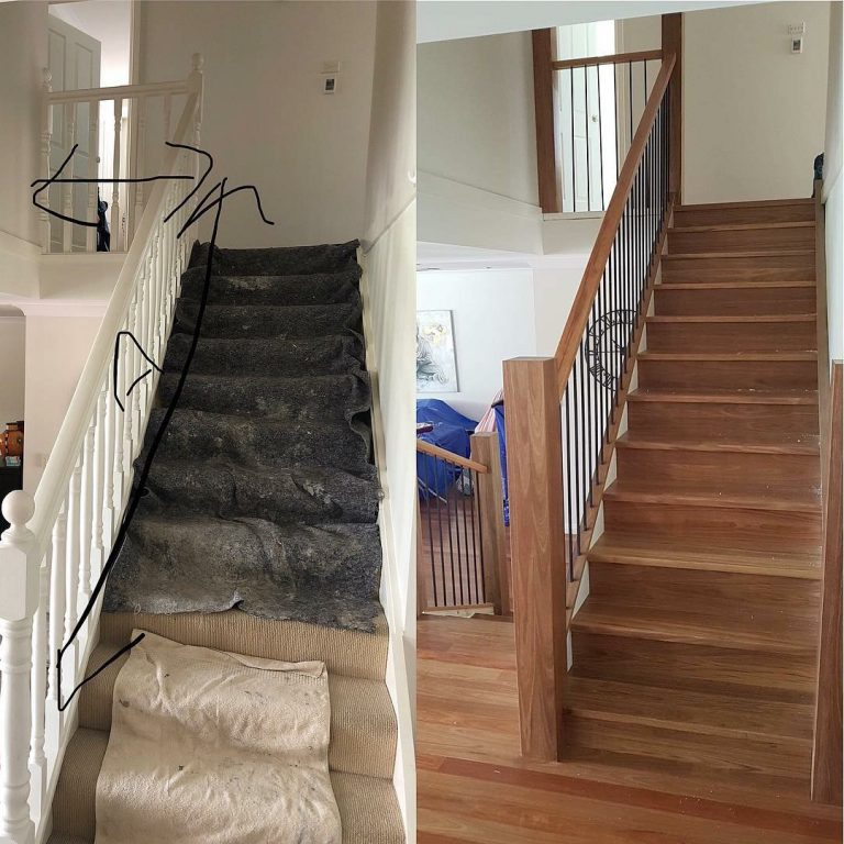 Our Designer Staircase Makeovers can transform a tired old looking carpeted staircase into in vogue living and hardwood timber flooring compliment each other for a sophisticated example of modern living. Supplied and installed by Timber Floors Pty Ltd