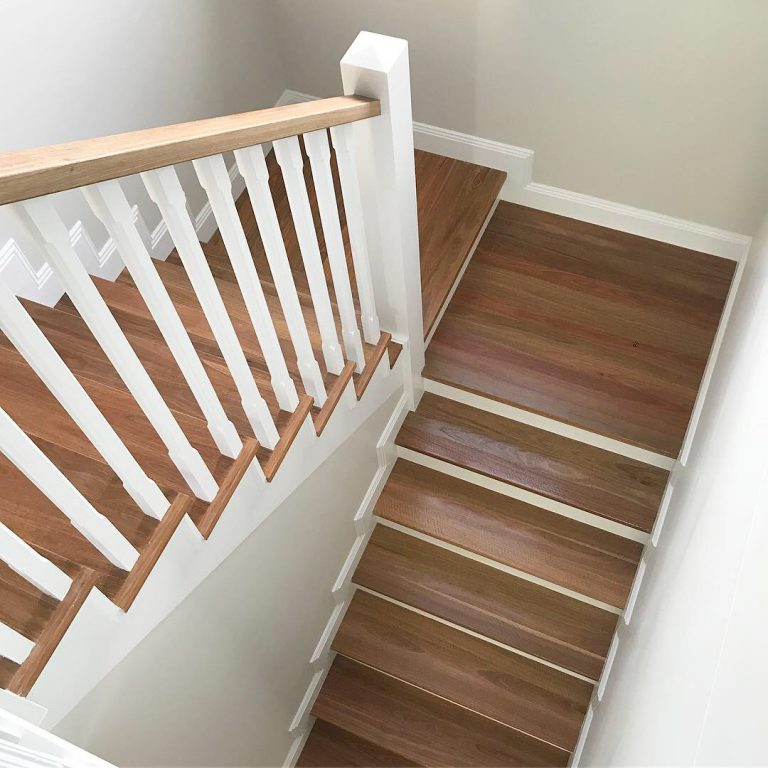 Hamptons Style renovations are very much in vogue in 2019 our designer staircase can transform an existing staircase into current home living trends by Timber Floors Pty Ltd
