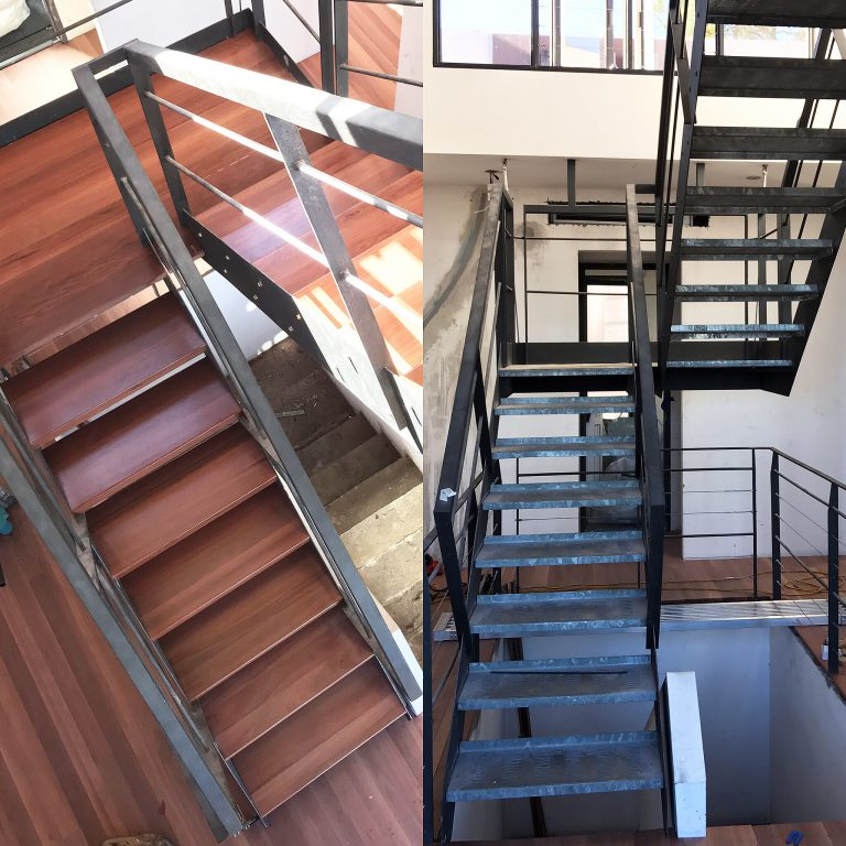 Metal staircase fitted with solid Australian Hardwood treads supplied and installed by Timber Floors Pty Ltd