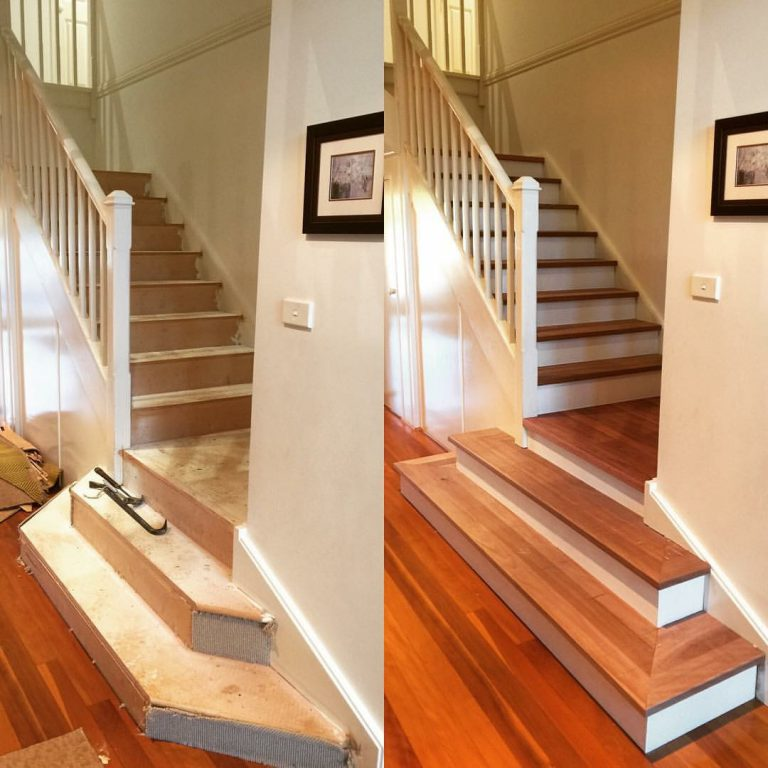 Staircase makeover - before and after photo by Timber Floors Pty Ltd #staircase #makeover #renovation
