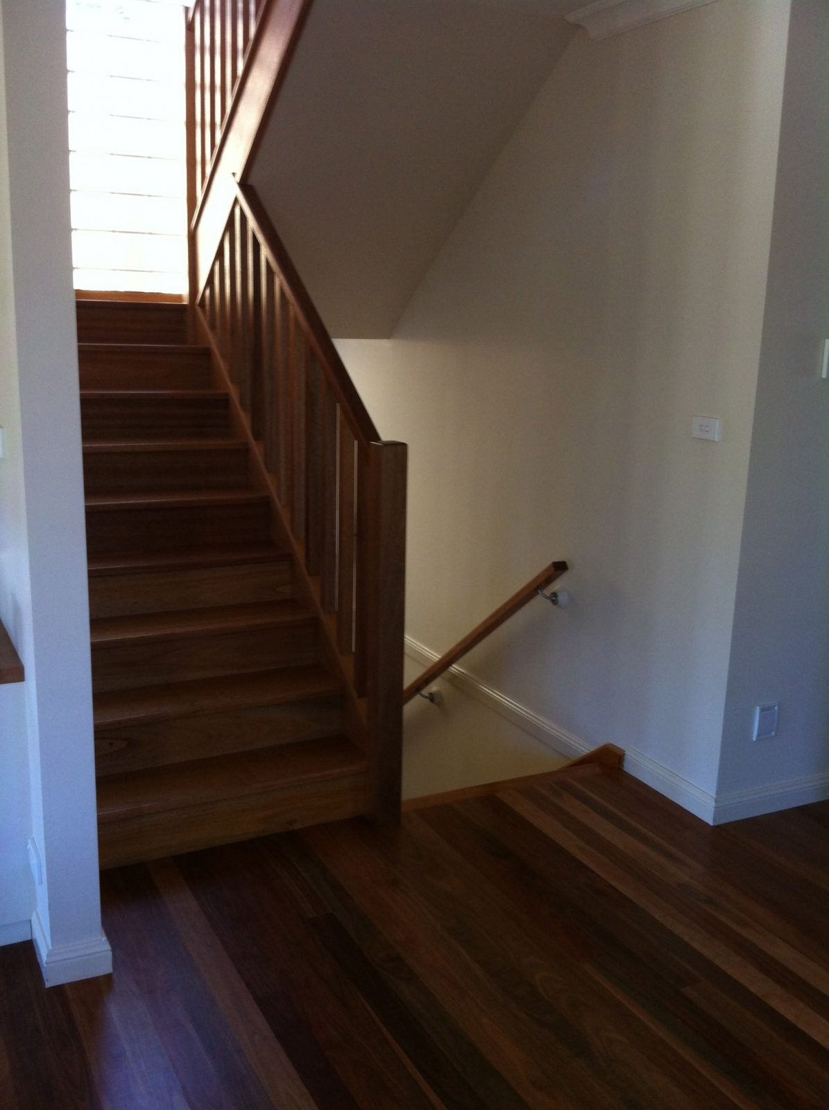 Split level home with timber flooring to second floor with matching solid hardwood stairs