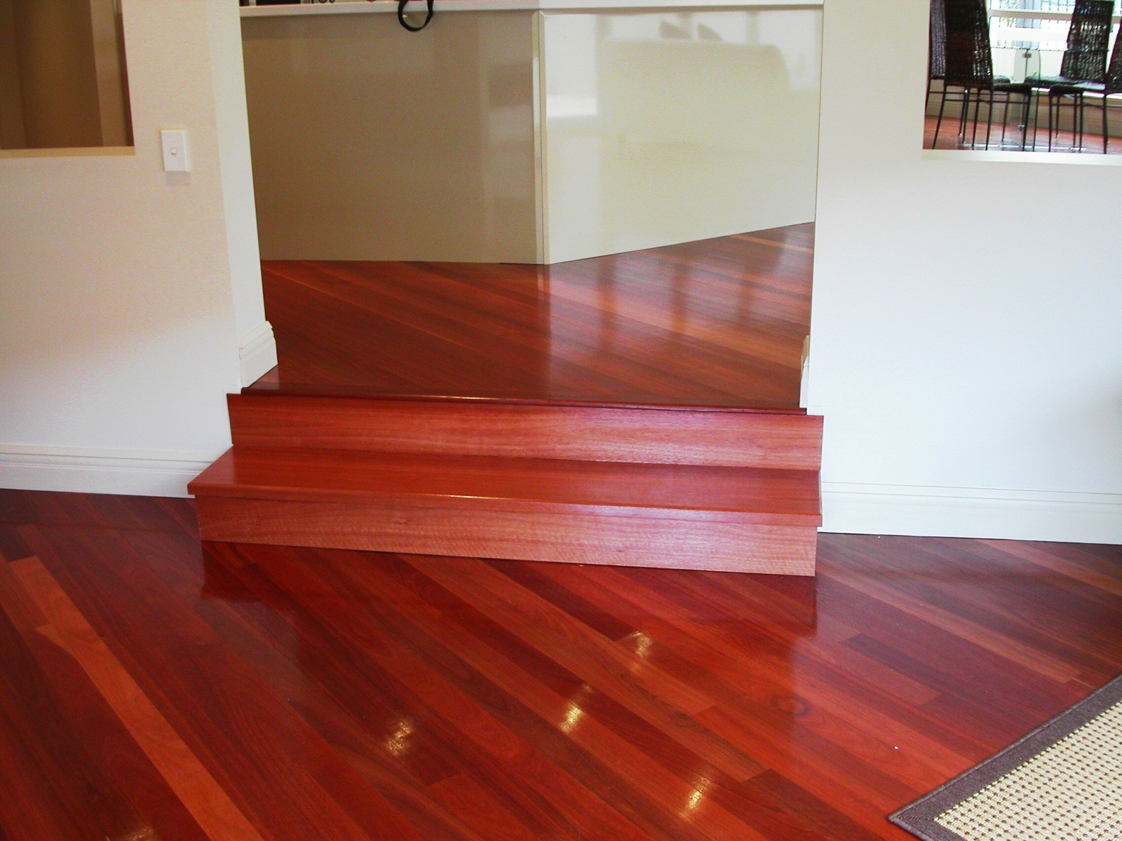 Red Gum timber flooring and stair treads supplied and installed by Timber Floors Pty Ltd