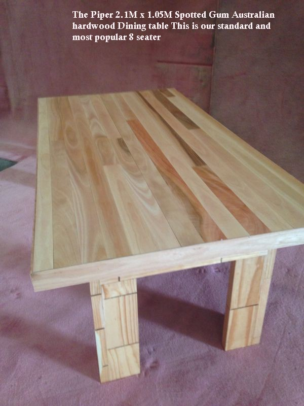 Designer Furniture The-Piper-Spotted-Gum-Wooden-Dining-Table-Custom-Built Made to Order by Rex Bruker @ Timber Floors Pty Ltd