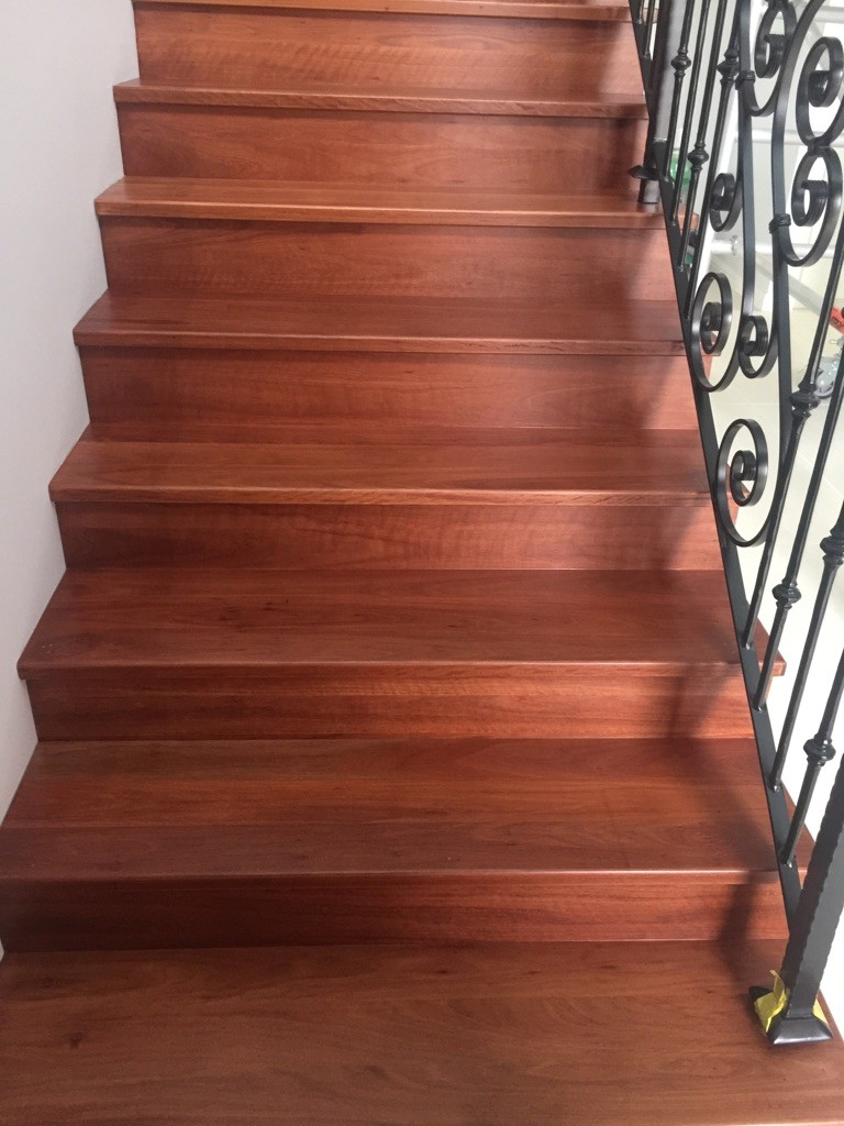 Earlwood Red Iron Bark timber Staircase makeover by Timber Floors Pty Ltd