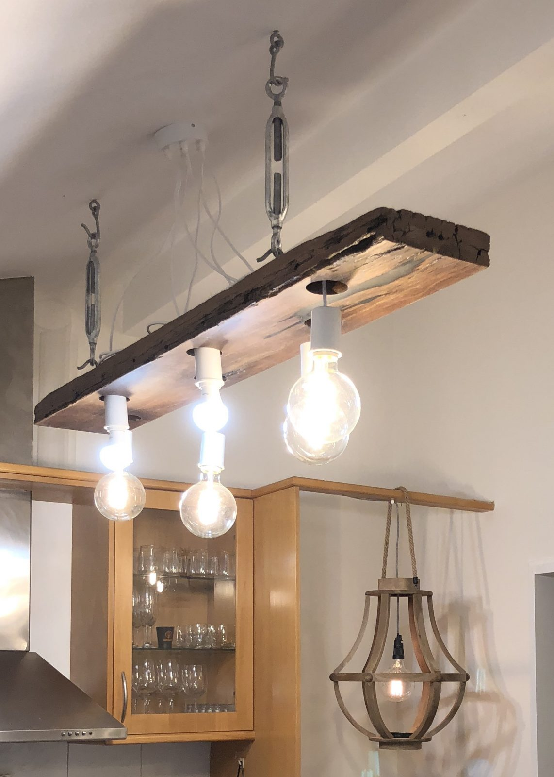 Bespoke light fitting - Wood Chandelier - driftwood by Timber Floors Pty Ltd